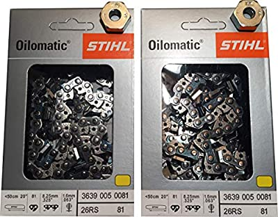 Stihl 2 Pack 26RS 81 Drive Links .325 Pitch .063 Gauge Rapid Super Chainsaw Chain with 2 BAR Cover Nuts