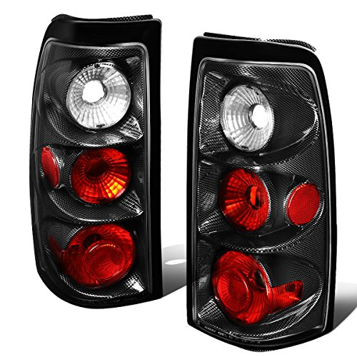 Tail Light Lamp Carbon - For 2003-2007 Chevy Silverado Carbon Fiber Housing Altezza Style Tail Light Brake/Parking Lamps