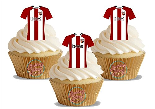 fan products of 12 x Brentford FC Soccer Shirts Fun Novelty Birthday PREMIUM STAND UP Edible Wafer Card Cake Toppers Decorations