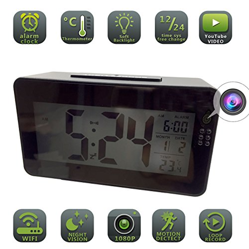 Alarm Clock Hidden Camera WiFi HD 1080P big desk bed spy clock Camera For Home Security Nanny Cam Small Wireless office (Updated - Clock Hidden Alarm Camera