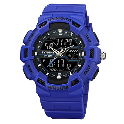 r Sport Watch Mountaineering Watch LED Digital Double Action Watch Multi-Function 50M Waterproof (blue) ()