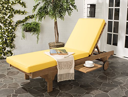 lection Newport Teak Brown & Yellow Chaise Lounge Chair with Side Table ()