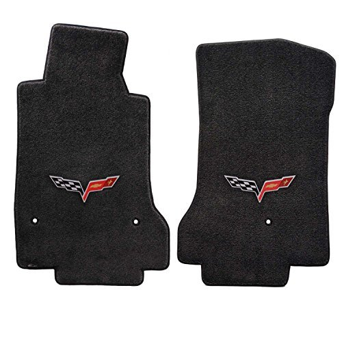 (Fits 2007.5-2013 C6 Corvette Driver & Passenger Floor Mats Set; Black / Ebony Velourtex Fabric with Crossed Flags Logo Embroidery)