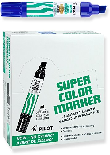 Pilot Super Color Jumbo Permanent Markers, Extra Wide Chisel Point, Xylene-Free, Blue Ink, Dozen Box (45200)