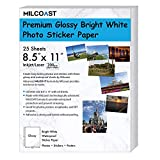Milcoast Glossy Full Sheet 8.5'' x 11'' Waterproof Adhesive Bright White Photo Paper - 200 GSM Weight, Inkjet/Laser Printer Compatible - 25 Sheets