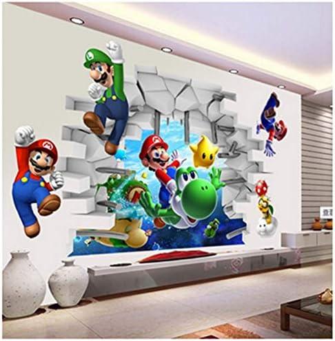 Mario 3D Smashed Decor Vinyl Kids Yoshi Sticker Mural Personalized Gift Super Mario Bros Wall Decal Art