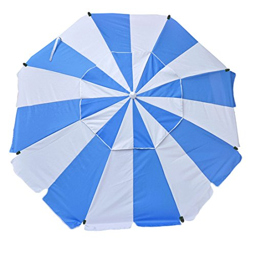 Shadezilla 8 ft Platinum Heavy Duty Beach Umbrella with Reinforced Fiberglass Ribs, Carry Bag, Accessory Hanging Hook, UPF100
