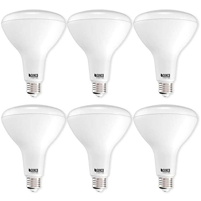 Sunco Lighting 6 Pack BR40 LED Light Bulb 17 Watt (100 Equivalent) Flood Dimmable 3000K Kelvin Warm White 1400 Lumens Indoor/Outdoor 25000 Hrs, Use In Home, Office And More - UL & ENERGY STAR LISTED