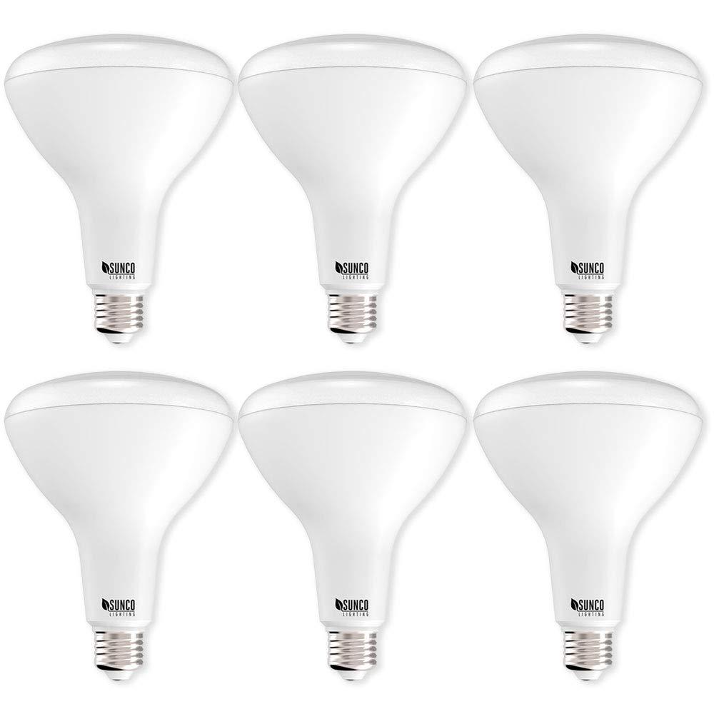 Sunco Lighting 6 Pack BR40 LED 17 watt (100W equivalent), 3000K Warm White, Dimmable, Indoor Outdoor lighting, 1400 Lumens, Flood Light Bulb UL Energy Star Listed