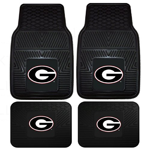 Car Mats Pacific (Officially Licensed NCAA Set of Universal Fit Front and Rear Logo Rubber Automotive Floor Mats - Georgia Bulldogs)