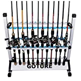 Cheap Goture Portable Fishing Rod Rack Metal Aluminum Alloy and Ultralight Fishing Rod Holder for All Type Fishing Pole, Hold Up to 24 Rods