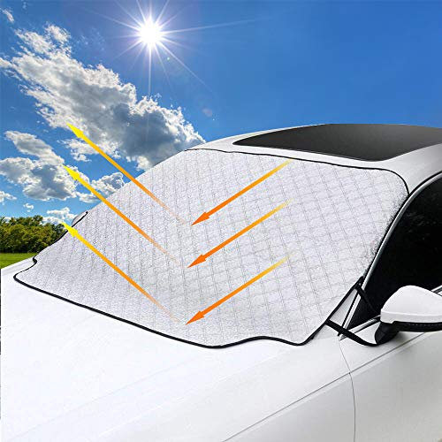 SONRU Car Windshield Sunshade Cover / 3 Magnets Most Secure Fitting and Easiest Installation/Waterproof, Soft Scratch-Free/for Cars Trucks Vans and SUVs(58'' X46'') (Best Suv In Snow 2019)