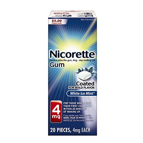 Nicorette Nicotine Gum, Stop Smoking Aid, 4 mg, White Ice Mint Flavor, 20 count