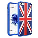 iPhone SE Case, iPhone 5s / iPhone 5 Case, Capsule-Case Hybrid Slim Hard Back Shield Case with Fused TPU Edge Bumper (Blue) for iPhone SE / iPhone 5s / iPhone 5 - (Union Jack Flag)