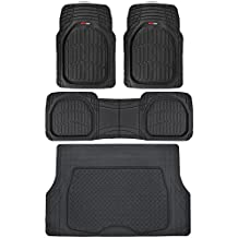 Motor Trend 4pc Black Car Floor Mats Set Rubber Tortoise Liners w/ Cargo for Auto SUV Trucks - All Weather Heavy Duty Floor Protection
