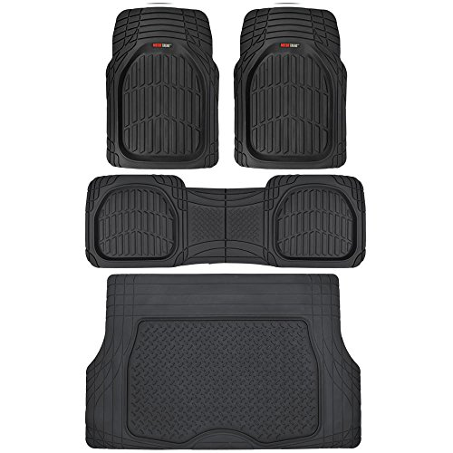 Car Cargo Liners (Motor Trend 4pc Black Car Floor Mats Set Rubber Tortoise Liners w/ Cargo for Auto SUV Trucks - All Weather Heavy Duty Floor Protection)