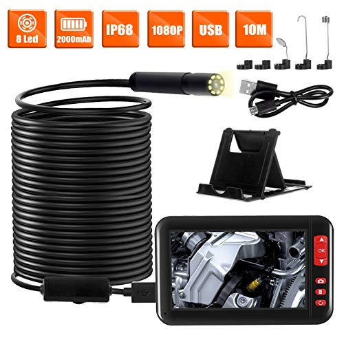 Industrial Endoscope with 4.3 inch 1080P Full HD LCD Digital Screen IP67 Waterproof Inspection Camera with 8 LEDs 8mm Lens Camera 10 Meters(32.8ft) Semi-Rigid Cable DVR Waterproof Borescope Camera