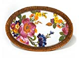 MacKenzie-Childs Flower Market Small Rattan & Enamel Tray - White 8'' W, 11'' long
