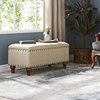 STYLISH Upholstered Nailhead Storage Bench in a Contemporary Design with Safety Hinged Lid. Perfect for an Entry Way, Hallway, Family room or Bedroom
