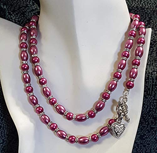 Fuchia (Hot Pink) Pearls and Silver Rhinestone Beads Long Pearl Strand with Rhinestone Encrusted Heart Clasp - 32.5