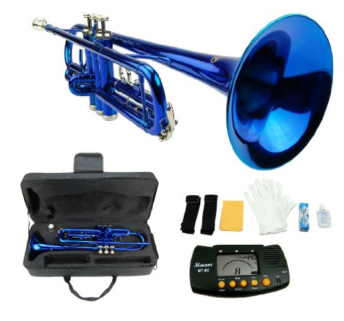 Merano B Flat BLUE / Silver Trumpet with Case+Mouth Piece+Valve Oil+Metro (Pink Trumpet)