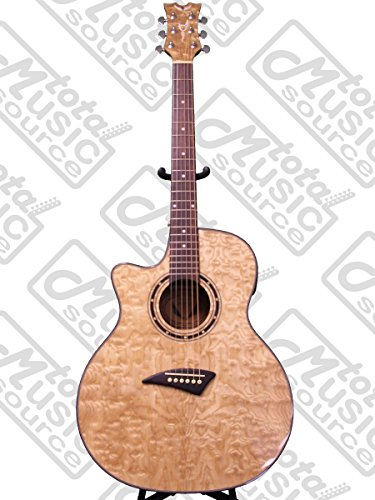 Dean Exotica Quilt Ash Lefty Acoustic-Electric Guitar, Gloss Natural