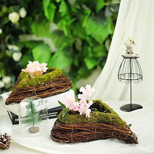 - Efavormart Set of 2 | Natural Twig Green Heart Preserved Moss Planter Box - 14