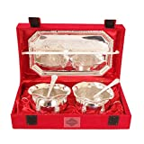 IndianArtVilla Silver Plated Bowl Set with Embossed Tray and 2 Spoon, 300 ML Each, Service for 2