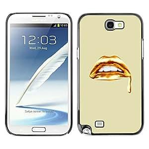 TopCaseStore / la caja del caucho duro de la cubierta de protección de la piel - Golden Lips Blood White Teeth Art - Samsung Galaxy Note 2 N7100