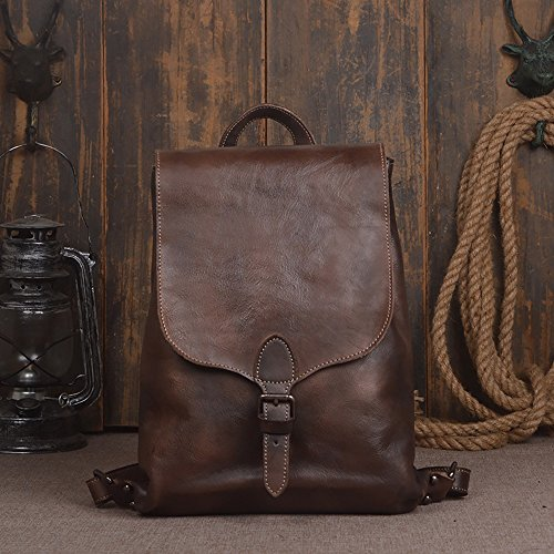 Handmade Women Men Vegetable Tanned Leather 14 Inch Laptop Backpack MLLW2