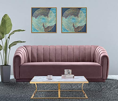 Iconic Home Van Gogh Sofa Velvet Upholstered Vertical Channel-Quilted Shelter Arm Single Bench Design Modern Contemporary