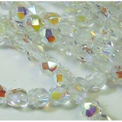 150 Czech 8mm Crystal Clear AB Faceted Round Firepolished Glass Beads 1/8 Mass Fire - Druk Crystal Round