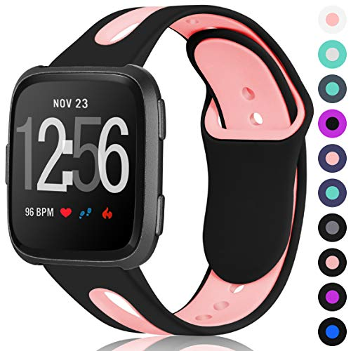 Maledan for Fitbit Versa Bands Women Men, Breathable Soft Replacement Sport Strap with Air Holes for Fitbit Versa Fitness Smart Watch, Large, Black Pink