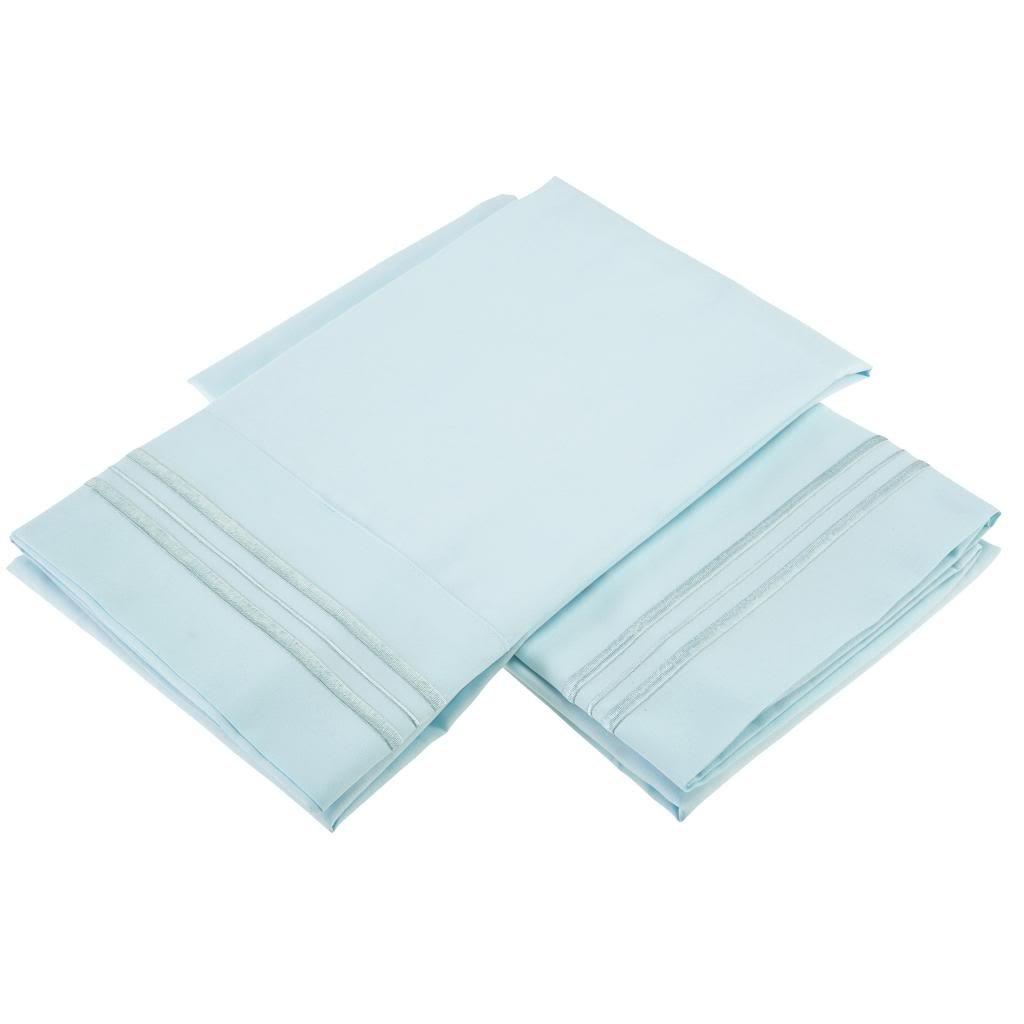 Clara Clark Micro Silk Pillowcases with Natural Aloe Vera Skin Soothing Moisturizing Treatment, Set of 2, Standard Size, Light Blue Aqua, Luxury look, Sleep in the Cloud and Wake Up Refreshed