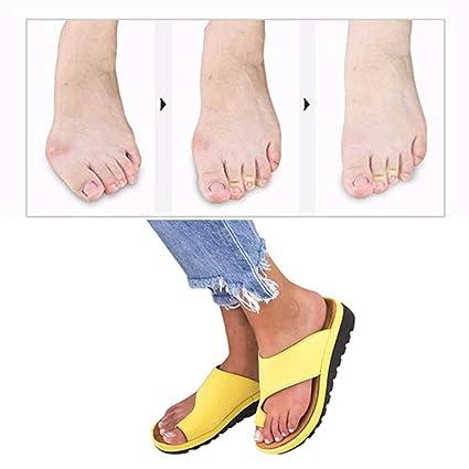 JLTUOXIE Plataformas Sandalias de Mujer cómodos Plana Cuero de PU Zapatillas Corrector de juanetes ortopédico Casuales