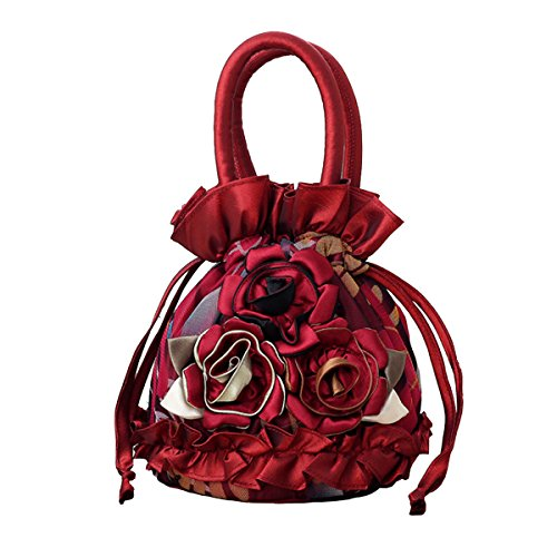 Womens Ladies Handbag Drawstring Bucket Bag Coin Purses Key Bags Cash Money Phone Pouches - Wine red