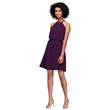 daa2d9e573 Short Soft Mesh Halter Bridesmaid Dress Style F19751 at Amazon ...