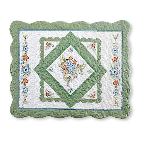 Reversible Hummingbird Floral Diamond Microfiber Pillow Sham with Scalloped Edges and Color Accents of Sage and Light Blue, Blue/Green, Sham