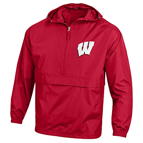 (Champion NCAA Men's Half Zip Front Pocket Packable Jacket Wisconsin Badgers Small)