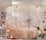 Nattey Beige 4 Corner Post Bedding Canopy Mosquito Netting With Frame(Post) Queen Size