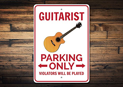 Dozili Guitarist Parking Sign Guitarist Gift Guitar Player Sign Guitar Decor Guitar Sign Music Lover Gift - Quality Aluminum 10