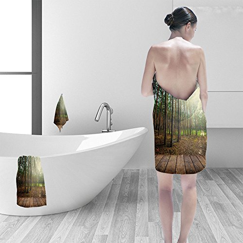 Bath towel set Beautiful sunlight in the spring pine forest wood planks floor interior background 3D Digital Printing No Chemical OdorEco-Friendly Non Toxic13.8