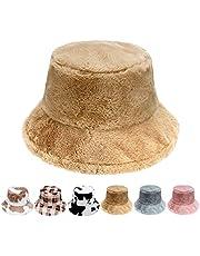 K·K Winter Bucket Hat - Fluffy Fisherman Hat Faux Fur Hat Pattern Warm Hat for Women Men