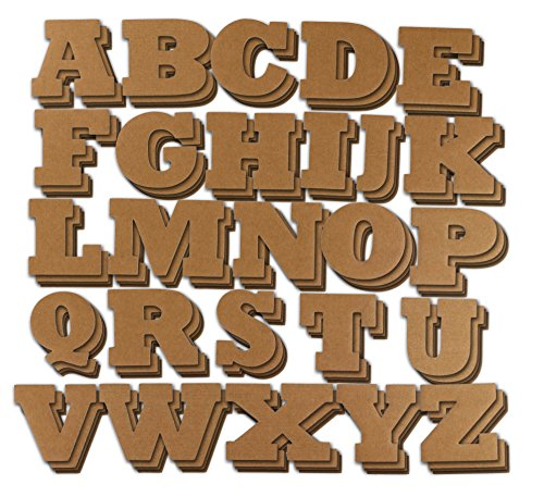 Cardboard Letters - 104-Piece Alphabet Letters, Decorative Cardboard Alphabet for Children, Crafts, Home Decor, DIY Projects, 4 of Each Letter, Brown, 4.5 x 3 inches]()