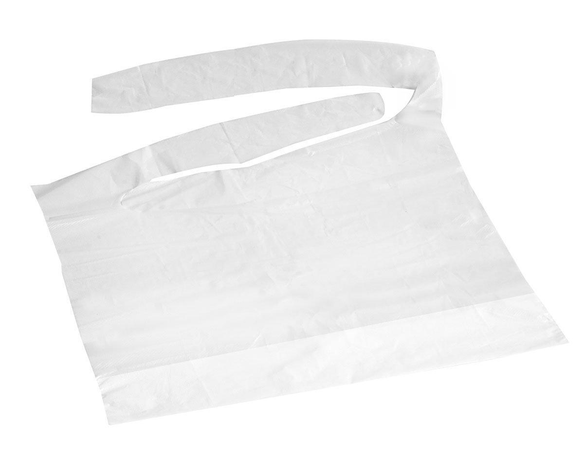 Medline NON24267C Waterproof Plastic Bibs, 16''x24'', White (Case of 500)