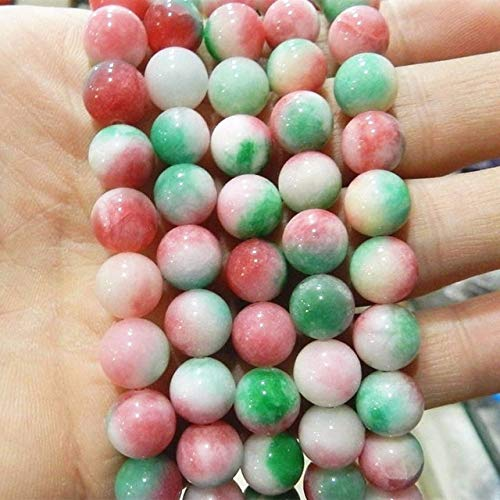 Calvas 4 Style 6mm 8mm 10mm 12mm Dyed Multicolor jades Natural Stone Round Chalcedony DIY Loose Beads Jewels Making 15inch MY5155 - (Color: 6mm)