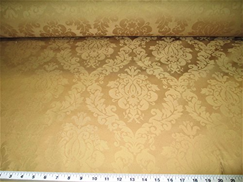 Discount Fabric Upholstery Drapery Jacquard Damask Floral Old Gold CC20