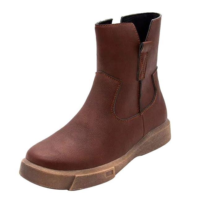 ZARLLE_Botas Botas tacón cuña Altos para Mujer Otoño Invierno 2018 Cuero de Planas con Cremallera Baja Botas de Tubo Medio Zapatos Casuales Boots Zapatos ...