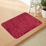 Household mats living room bathroom mats water-absorbing memory foam carpet -4060cm Wine Red