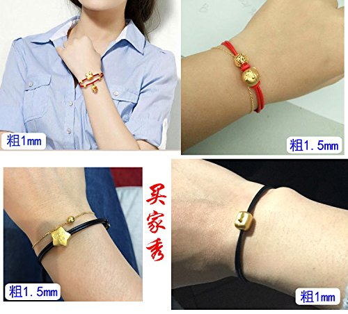 (Men women hand-woven red string bracelet rope wax yellow leather cord transport beaded lanyard rope anklets natal)